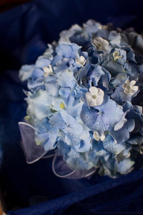 Photo of a wedding bouquet of blue hydrangeas