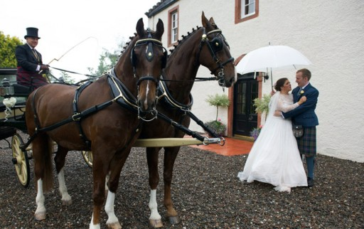 Photo of bride and groom standing next to their horse drawn carriage