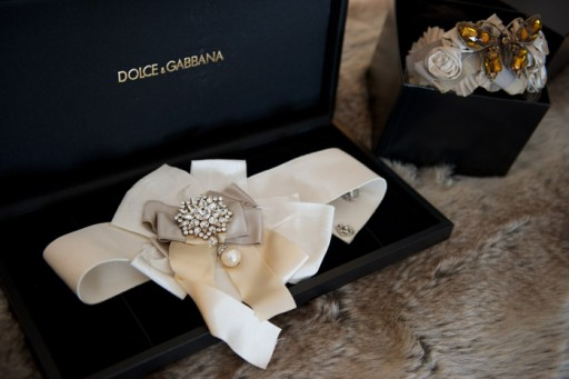 Photo of ivory silk waistband for wedding dress by Dolce + Gabanna with pearls and diamonds