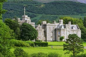 Photo of the exterior of Inverlochy Castle in the Scottish Highlands