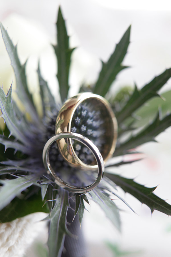 Photo of sea thistle with gold and platinum wedding rings