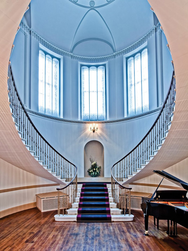 Photo of the stunning staircase in the entrance hall of Fasque castle