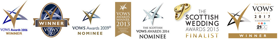 Picture of the awards that LITU have won. These are Vows awards winner in 2006, 2007 and 2013, Vows award nominees in 2009 and 2014, Scottish Wedding Awards Finalist in 2015 and Winner VOWS 2017.